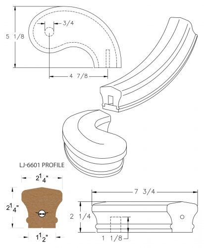 """LJ-7645SB: Conect-A-Kit 5"""" Right Hand Turnout for LJ-6601 Handrail CAD Drawing"""