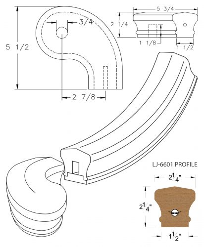 """LJ-7646SB: Conect-A-Kit 3"""" Right Hand Turnout for LJ-6601 Handrail CAD Drawing"""