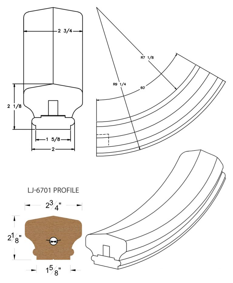 LJ-7712SB: Conect-A-Kit 60° Upeasing for LJ-6701 Handrail CAD Drawing