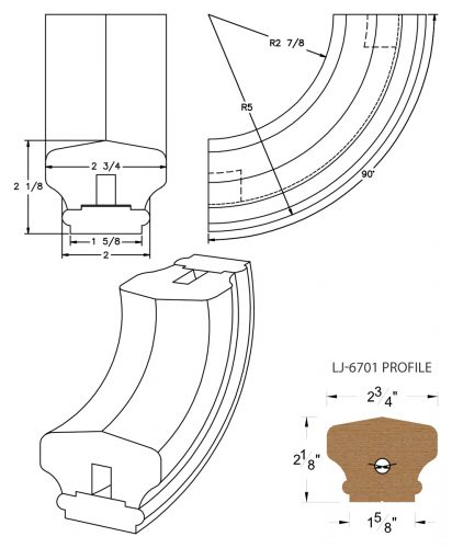 LJ-7714SB: Conect-A-Kit 90° Upeasing for LJ-6701 Handrail CAD Drawing