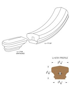 LJ-7715SB: Conect-A-Kit Starting Easing for LJ-6701 Handrail CAD Drawing