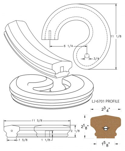 LJ-7730SB: Conect-A-Kit Left Hand Volute for LJ-6701 Handrail CAD Drawing