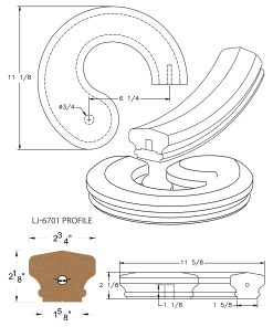 LJ-7735SB: Conect-A-Kit Right Hand Volute for LJ-6701 Handrail CAD Drawing