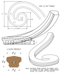 LJ-7736: Right Hand Climbing Volute for LJ-6701 Handrail CAD Drawing