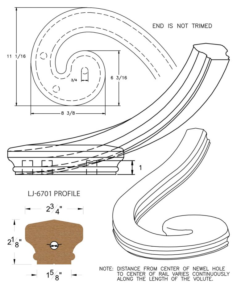 LJ-7736: Right Hand Climbing Volute for LJ-6701 Handrail CAD Drawing