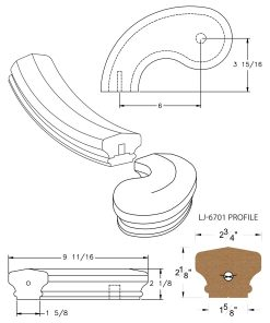 """LJ-7740SB: Conect-A-Kit 5"""" Left Hand Turnout for LJ-6701 Handrail CAD Drawing"""