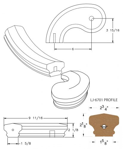 "LJ-7740SB: Conect-A-Kit 5"" Left Hand Turnout for LJ-6701 Handrail CAD Drawing"