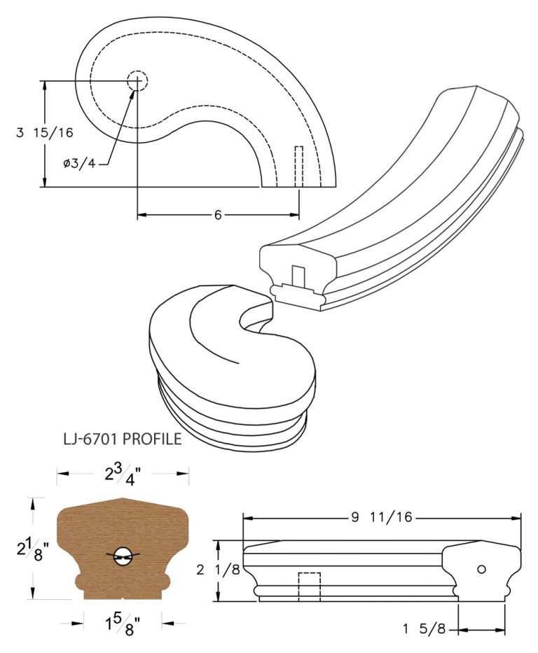 "LJ-7745SB: Conect-A-Kit 5"" Right Hand Turnout for LJ-6701 Handrail CAD Drawing"