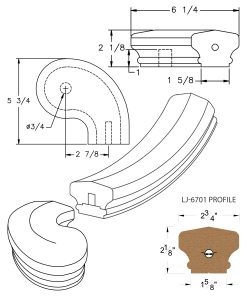 """LJ-7746SB: Conect-A-Kit 3"""" Right Hand Turnout for LJ-6701 Handrail CAD Drawing"""
