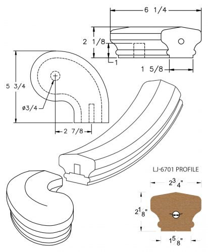 "LJ-7746SB: Conect-A-Kit 3"" Right Hand Turnout for LJ-6701 Handrail CAD Drawing"