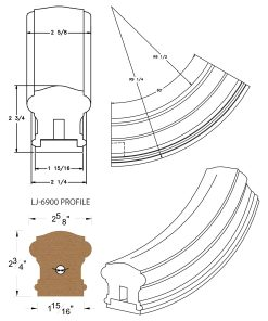 LJ-7912SB: Conect-A-Kit 60° Upeasing for LJ-6900 Handrail CAD Drawing