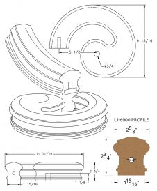 LJ-7930SB: Conect-A-Kit Left Hand Volute for LJ-6900 Handrail CAD Drawing