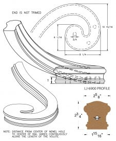 LJ-7931: Left Hand Climbing Volute for LJ-6900 Handrail CAD Drawing