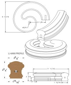 LJ-7935SB: Conect-A-Kit Right Hand Volute for LJ-6900 Handrail CAD Drawing