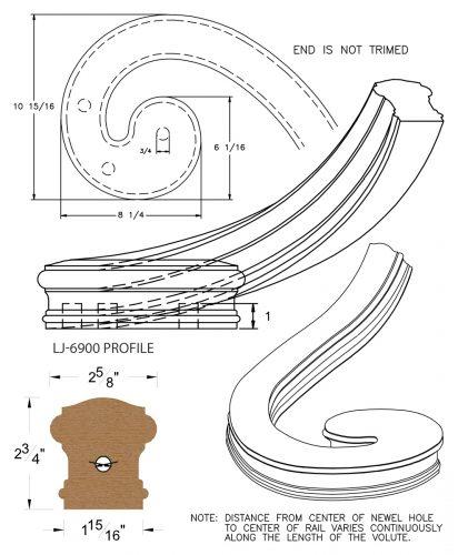 LJ-7936: Right Hand Climbing Volute for LJ-6900 Handrail CAD Drawing