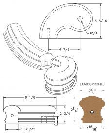 """LJ-7940SB: Conect-A-Kit 5"""" Left Hand Turnout for LJ-6900 Handrail CAD Drawing"""