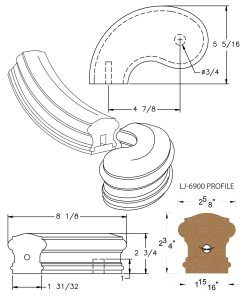 "LJ-7940SB: Conect-A-Kit 5"" Left Hand Turnout for LJ-6900 Handrail CAD Drawing"