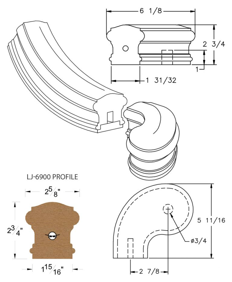 "LJ-7941SB: Conect-A-Kit 3"" Left Hand Turnout for LJ-6900 Handrail CAD Drawing"