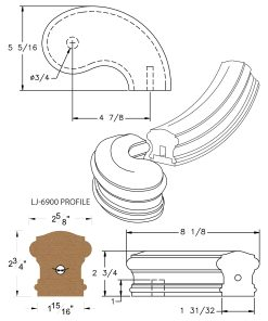 "LJ-7945SB: Conect-A-Kit 5"" Right Hand Turnout for LJ-6900 Handrail CAD Drawing"