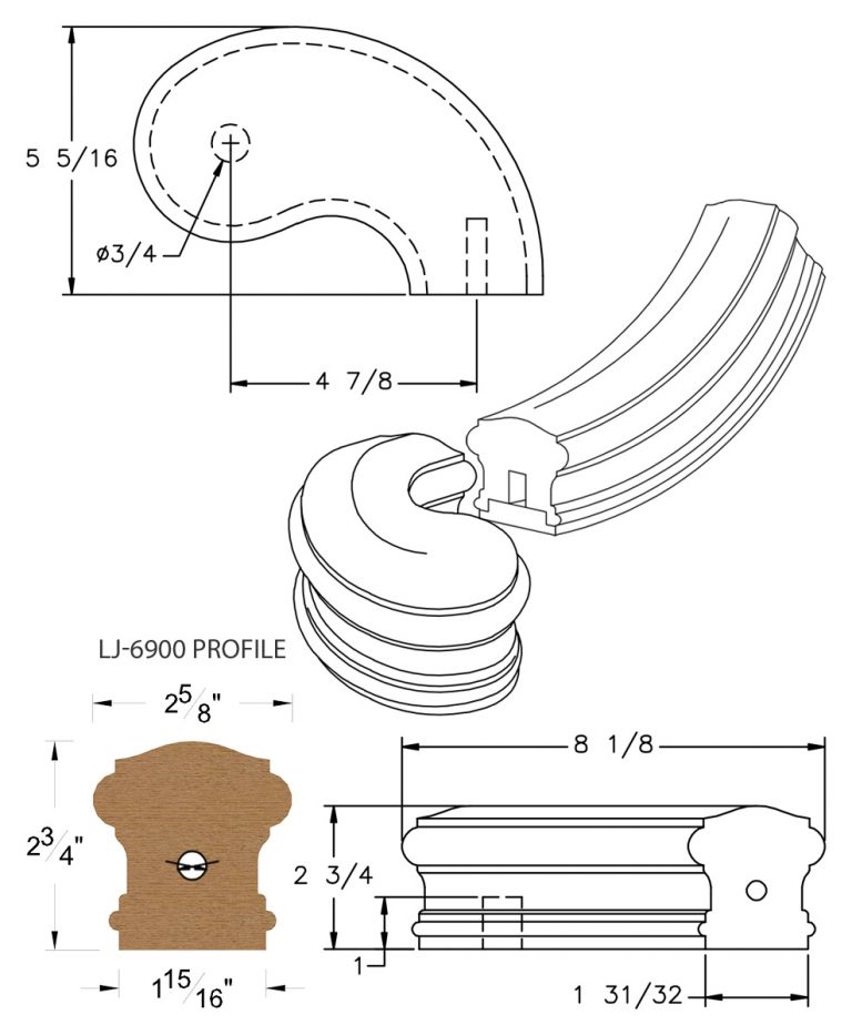 """LJ-7945SB: Conect-A-Kit 5"""" Right Hand Turnout for LJ-6900 Handrail CAD Drawing"""