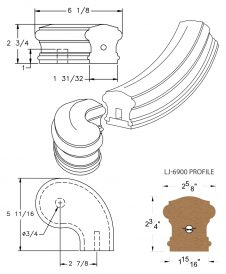 """LJ-7946SB: Conect-A-Kit 3"""" Right Hand Turnout for LJ-6900 Handrail CAD Drawing"""
