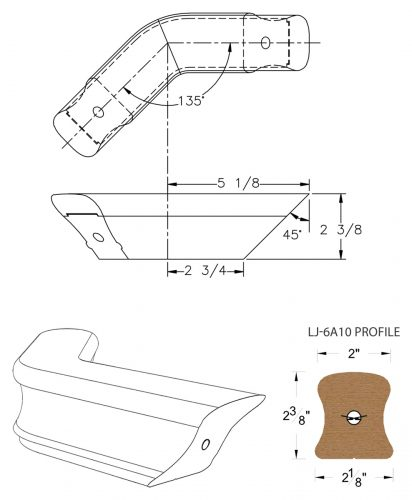 LJ-7A11-135: Conect-A-Kit 135° Level Turn for LJ-6A10 Handrail CAD Drawing