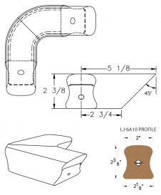 LJ-7A11: Conect-A-Kit 90° Level Quarterturn for LJ-6A10 Handrail CAD Drawing