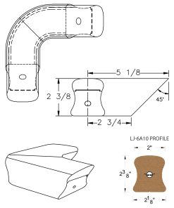 LJ-7A11: Conect-A-Kit 90° Level Quarterturn for LJ-6A10 Handrail CAD Drawing
