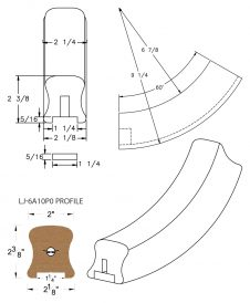 "LJ-7A12P0: Conect-A-Kit 60° Upeasing for LJ-6A10P0 - 1 1/4"" Plowed Handrail CAD Drawing"