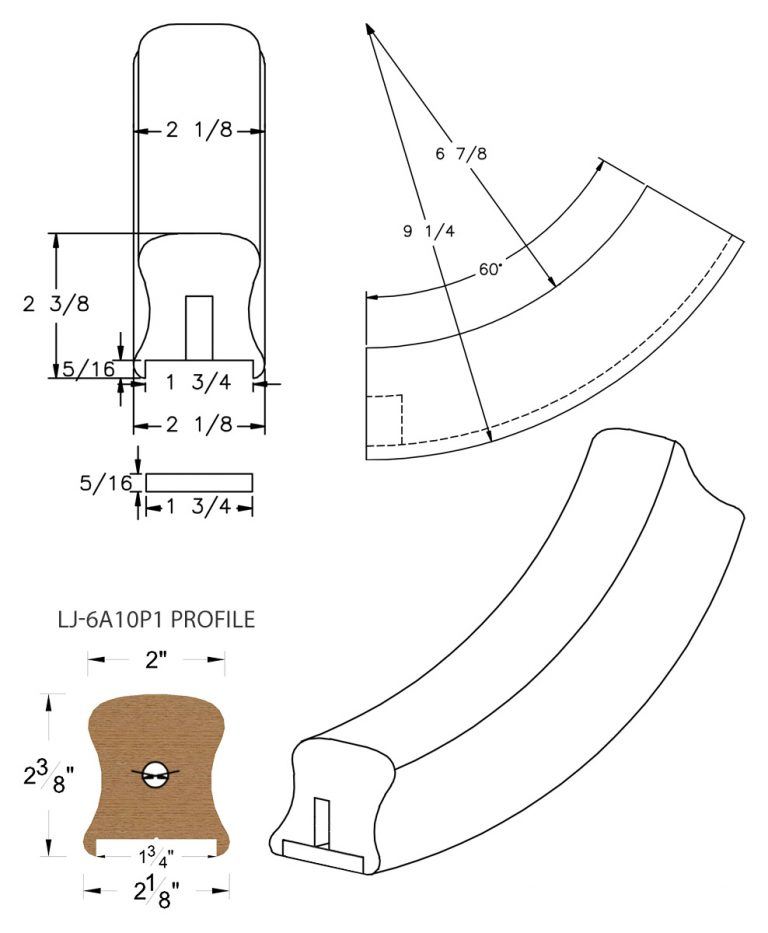 "LJ-7A12P1: Conect-A-Kit 60° Upeasing for LJ-6A10P1 - 1 3/4"" Plowed Handrail CAD Drawing"