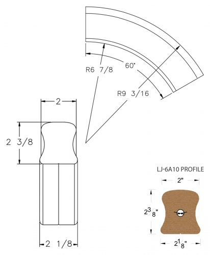LJ-7A13: Conect-A-Kit 60° Over Easing for LJ-6A10 Handrail CAD Drawing