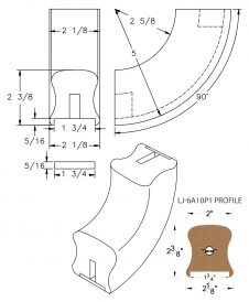 "LJ-7A14P1: Conect-A-Kit 90° Upeasing for LJ-6A10P1 - 1 3/4"" Plowed Handrail CAD Drawing"