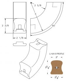 LJ-7A14SB: Conect-A-Kit 90° Upeasing for LJ-6A10 Handrail CAD Drawing