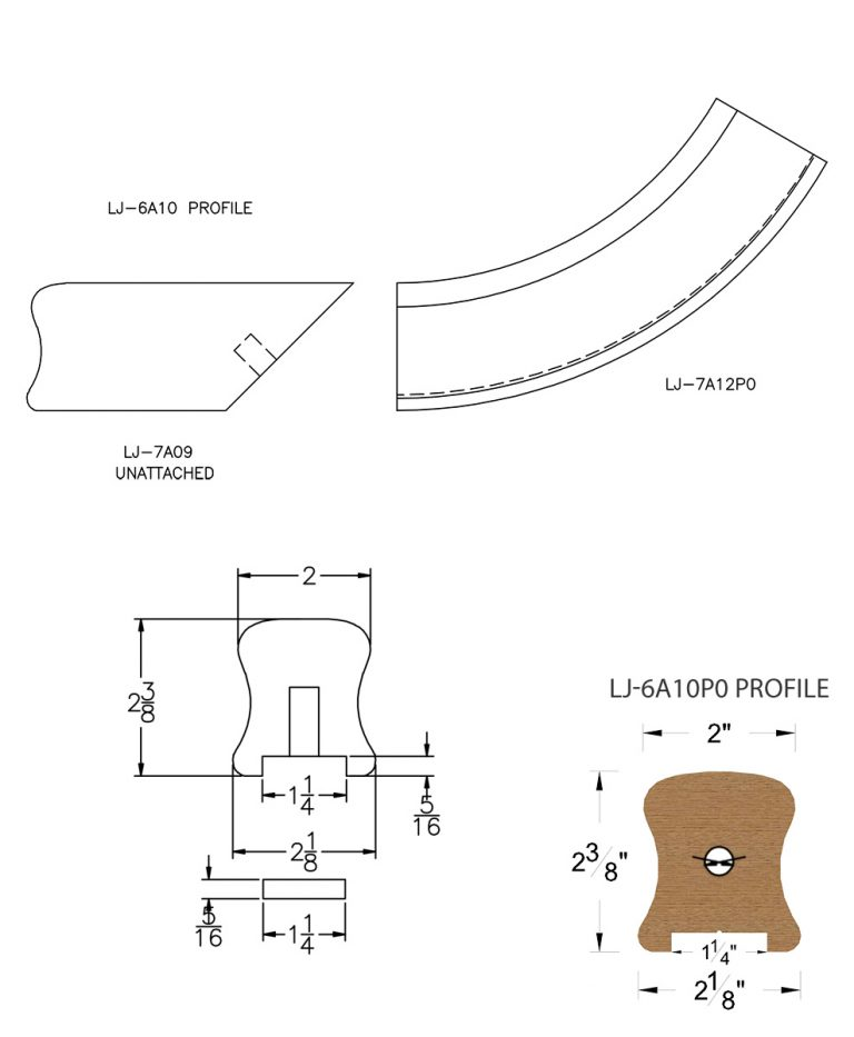 "LJ-7A15P0: Conect-A-Kit Starting Easing for LJ-6A10P0 - 1 1/4"" Plowed Handrail CAD Drawing"