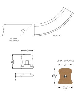 LJ-7A15SB: Conect-A-Kit Starting Easing for LJ-6A10 Handrail CAD Drawing