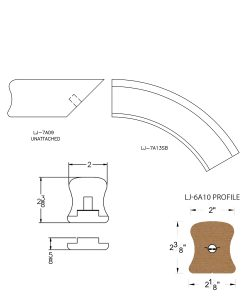 LJ-7A16: Conect-A-Kit Starting Over Easing for LJ-6A10 Handrail CAD Drawing
