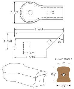 LJ-7A19: Conect-A-Kit Opening Cap for LJ-6A10 Handrail CAD Drawing