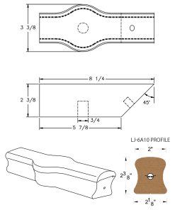 LJ-7A20: Conect-A-Kit Tandem Cap for LJ-6A10 Handrail CAD Drawing