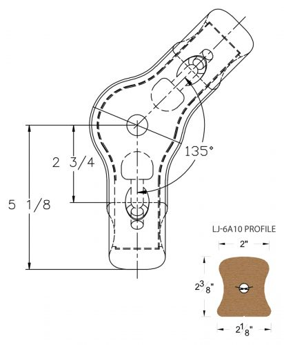 LJ-7A21-135: Conect-A-Kit 135° Level Turn with Cap for LJ-6A10 Handrail CAD Drawing