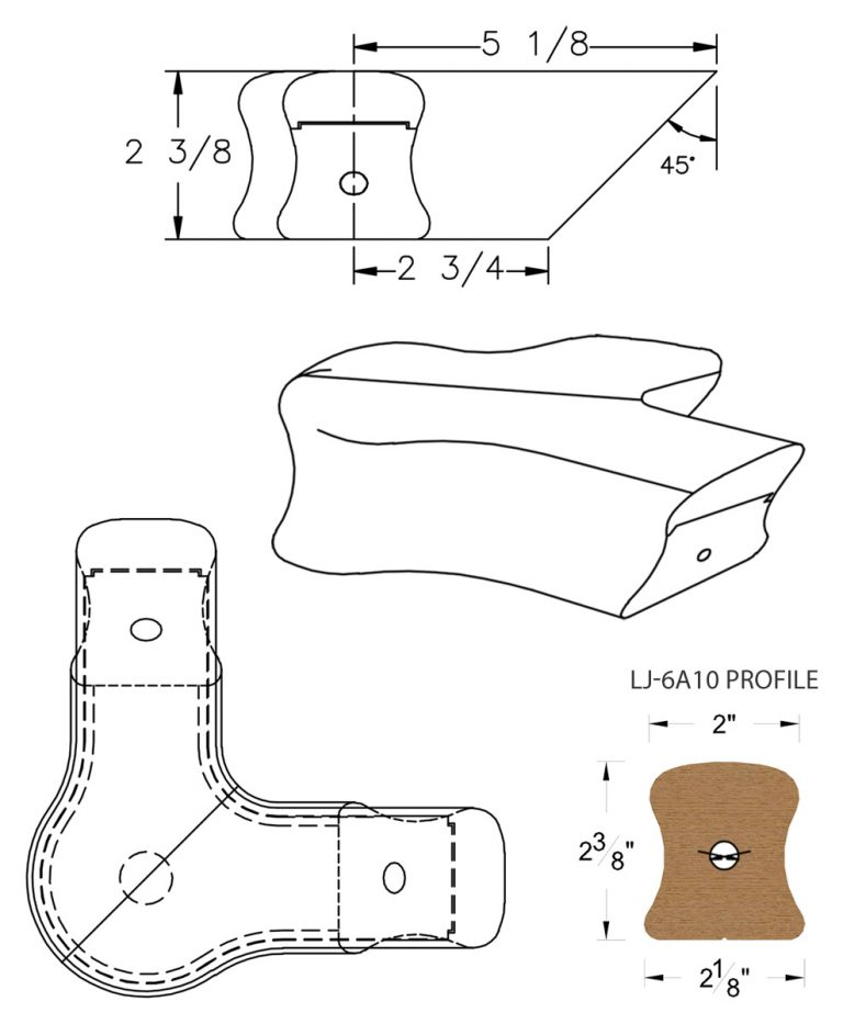 LJ-7A21: Conect-A-Kit 90° Level Quarterturn with Cap for LJ-6A10 Handrail CAD Drawing