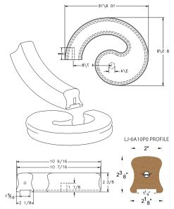 "LJ-7A30P0: Conect-A-Kit Left Hand Volute for LJ-6A10P0 - 1 1/4"" Plowed Handrail CAD Drawing"