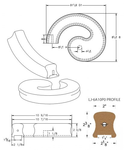 """LJ-7A30P0: Conect-A-Kit Left Hand Volute for LJ-6A10P0 - 1 1/4"""" Plowed Handrail CAD Drawing"""