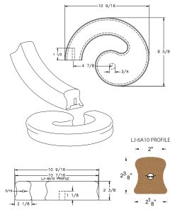 LJ-7A30SB: Conect-A-Kit Left Hand Volute for LJ-6A10 Handrail CAD Drawing