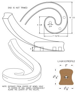 LJ-7A31: Left Hand Climbing Volute for LJ-6A10 Handrail CAD Drawing