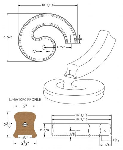"LJ-7A35P0: Conect-A-Kit Right Hand Volute for LJ-6A10P0 - 1 1/4"" Plowed Handrail CAD Drawing"