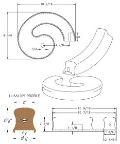 "LJ-7A35P1: Conect-A-Kit Right Hand Volute for LJ-6A10P1 - 1 3/4"" Plowed Handrail CAD Drawing"