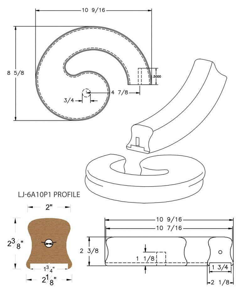 """LJ-7A35P1: Conect-A-Kit Right Hand Volute for LJ-6A10P1 - 1 3/4"""" Plowed Handrail CAD Drawing"""