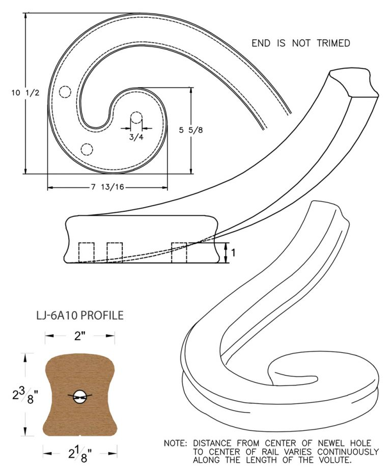 LJ-7A36: Right Hand Climbing Volute for LJ-6A10 Handrail CAD Drawing