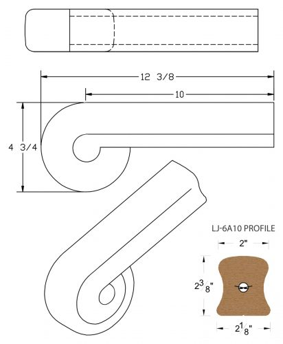 LJ-7A38: Vertical Volute for LJ-6A10 Handrail CAD Drawing