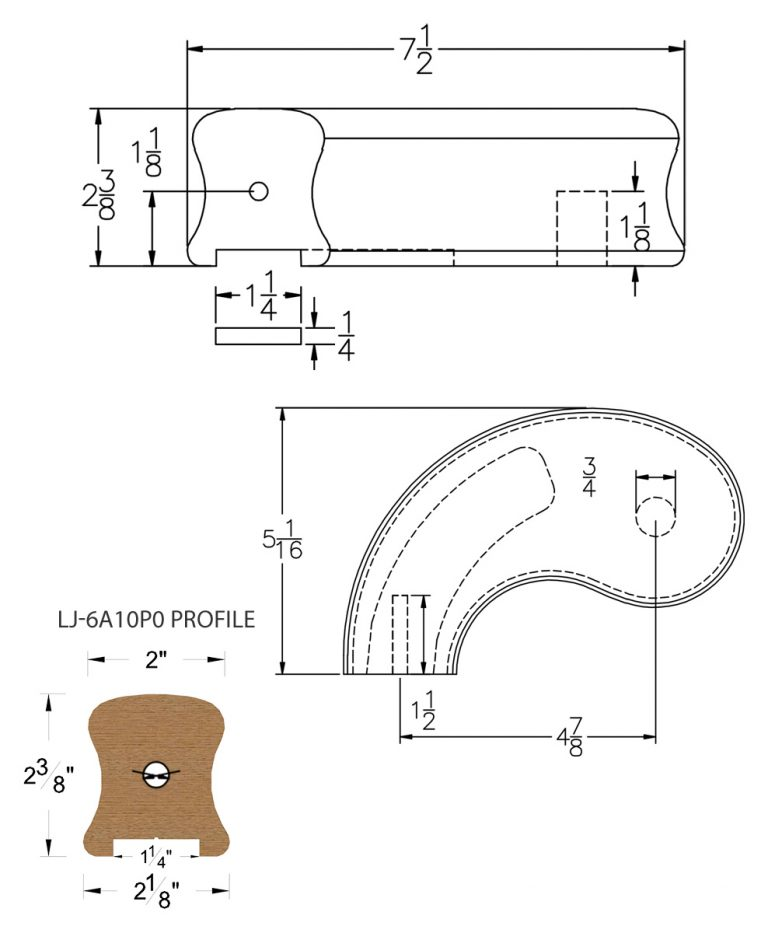 """LJ-7A40P0: Conect-A-Kit 5"""" Left Hand Turnout for LJ-6A10P0 - 1 1/4"""" Plowed Handrail CAD Drawing"""